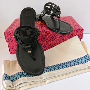 NWT Tory Burch Miller Black Leather Sandal 9.5